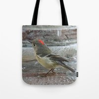 wallet Tote Bags featuring Ruby-Crowned Kinglet At The Fountain by Ralph S. Carlson