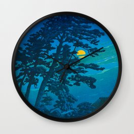 Vintage Japanese Woodblock Print Kawase Hasui Haunting Tree Silhouette At Night Moonlight Wall Clock
