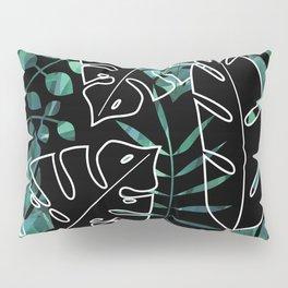 Dark tropical leaves pattern Pillow Sham