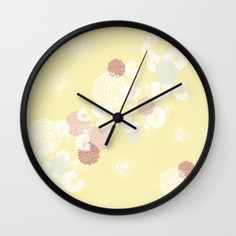 Floral Seamless Pattern on Yellow Wall Clock