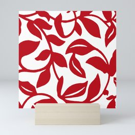 LEAF PALM VINE IN RED AND WHITE PATTERN Mini Art Print