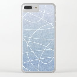 Scribble Linen - Denim Clear iPhone Case