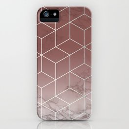 Geometric Cubes Deep Pink on Marble iPhone Case