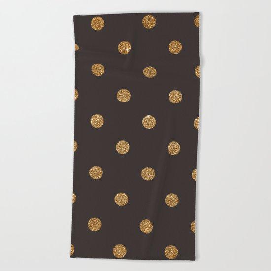 Dark Brown Gold Glitter Dots Beach Towel