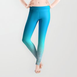 Christmas, Snow Flurries in Light Blue Leggings