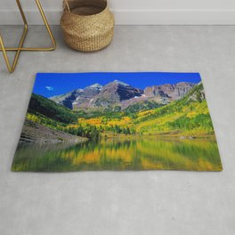 USA Maroon Bells Colorado Nature Mountains Lake Forests landscape photography mountain forest Scenery Rug