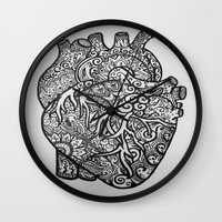 anatomical heart Wall Clocks featuring Anatomical Heart Zentangle by isabellat