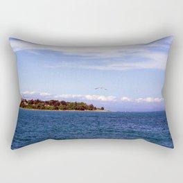 Lone Gull Over Lake Michigan Rectangular Pillow
