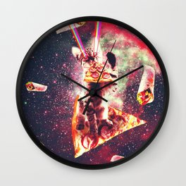 Space Cat Eating Pizza - Rainbow Laser Eyes, Burrito Wall Clock