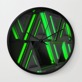 Pattern of grey triangle prisms with green glowing lines Wall Clock