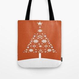 Christmas Tree Made Of Snowflakes On Orange Background  Tote Bag