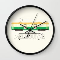 melbourne Wall Clocks featuring Melbourne by Tourmaline Design