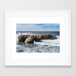 Rocks and Waves Framed Art Print