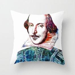 Graffitied Shakespeare Throw Pillow