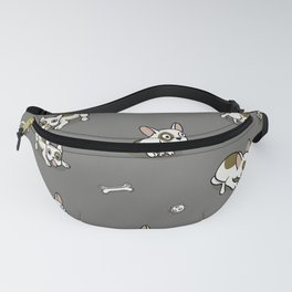 Sweet Frenchie Bulldog Puppies Pattern Grey Background Fanny Pack
