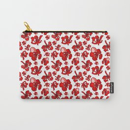 Striking Red Poinciana Floral Print Carry-All Pouch