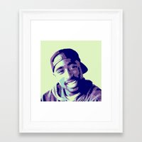 tupac Framed Art Prints featuring Tupac by victorygarlic
