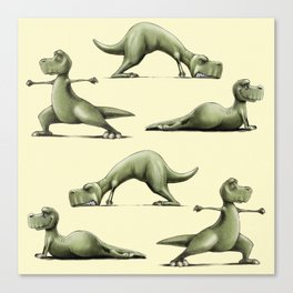 Yogasaurs (Yellow) Canvas Print