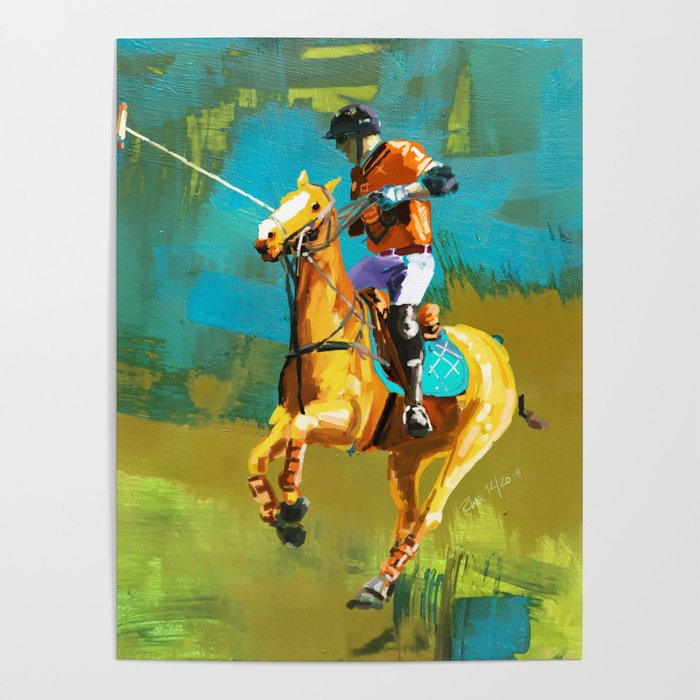 poloplayer abstract turquoise ochre Poster