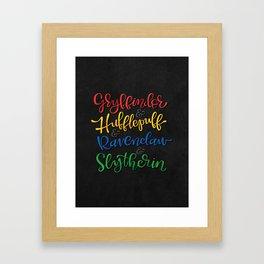 Gryffindor & Hufflepuff & Ravenclaw & Slytherin Framed Art Print