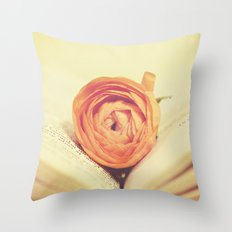 {Old Book and Ranunculus} Throw Pillow