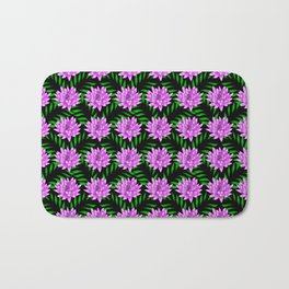 Pink pretty blooming lily flowers and green leaves black floral pattern design Bath Mat