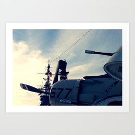 A1 Skyraider with the Midway tower Art Print