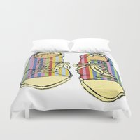 converse Duvet Covers featuring Multicoloured Converse Shoe Illustration by Amy frances Illustration