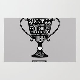 Success is walking from failure Winston Churchill Inspirational Quotes Rug