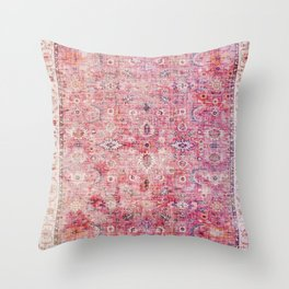 Pink Vintage Antique Oriental Traditional Moroccan Original Artwork Throw Pillow