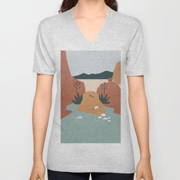 Girl with Agave Earings. Optical Illusion Landscape. Oasis in the Desert. Rotate 180 degrees Unisex V-Neck