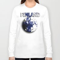 finland Long Sleeve T-shirts featuring Old football (Finland) by seb mcnulty