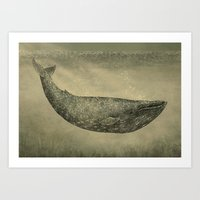 damask Art Prints featuring Damask Whale  by Terry Fan
