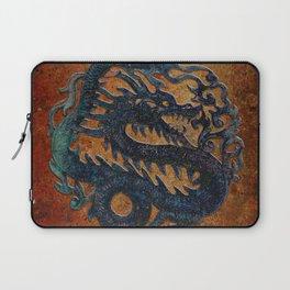 Blue Chinese Dragon on Stone Background Laptop Sleeve