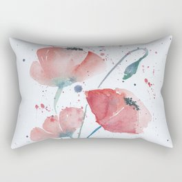 Red poppies in the sun floral watercolor painting Rectangular Pillow