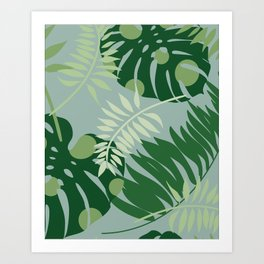 Spotted Monstra and Ferns Art Print