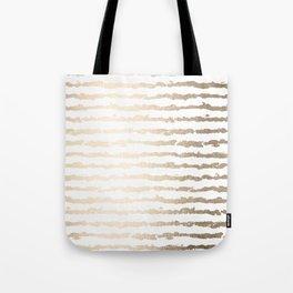 White Gold Sands Ink Stripes Tote Bag