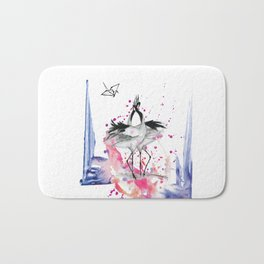 Crane dance Bath Mat
