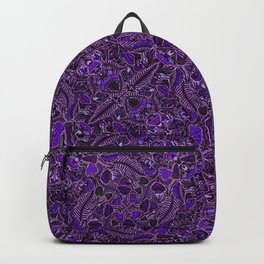 Ultraviolet Mushroom Wood, Field Ferns Leaves  in Lavender Purple Fungi Forest Painting Backpack
