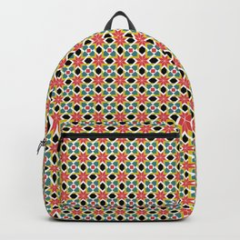 Medieval romanesque red cross tile pattern Backpack