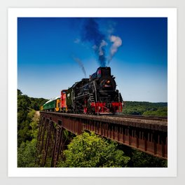 Vintage Train on Railroad in Scenic Country Landscape Art Print