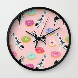 Great Dane donuts food lover dog person pet portrait by pet friendly dog breeds Wall Clock