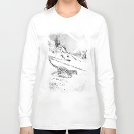 Snowboarder and snow leopard down the slope Long Sleeve T-shirt