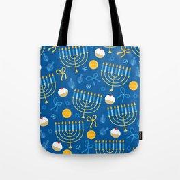 Hanukkah Menorah Pattern Tote Bag