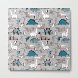 Origami dino friends // grey linen texture blue dinosaurs Metal Print