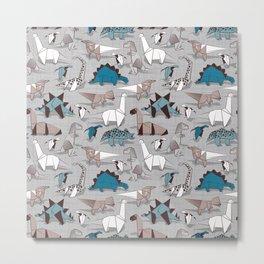 Origami dino friends // grey linen texture blue dinosaurs Metal Print