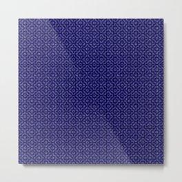 Persimmon Hitomezashi Sashiko - White on Blue Metal Print