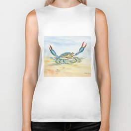Colorful Blue Crab Biker Tank