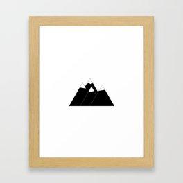 minimal black and white mountains Framed Art Print