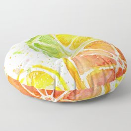 Fruit Watercolor Citrus Floor Pillow